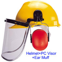 Helmet - Clear PC Visor + Earmuffs